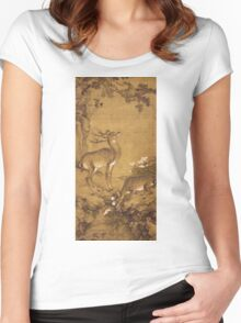 Shen Nanpin - A Birthday Painting, Qing Dynasty (1644-1911). Forest view: forest , trees, fauna, nature, birds, animals, flora, flowers, plants, field, weekend Women's Fitted Scoop T-Shirt