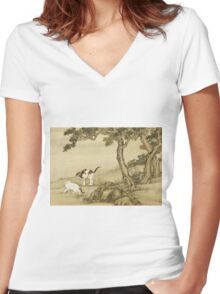 Shen Nanpin - Album Of Birds And Animals (Cats). Forest view: forest , trees,  fauna, nature, birds, animals, flora, flowers, plants, field, weekend Women's Fitted V-Neck T-Shirt