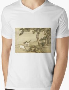 Shen Nanpin - Album Of Birds And Animals (Cats). Forest view: forest , trees,  fauna, nature, birds, animals, flora, flowers, plants, field, weekend Mens V-Neck T-Shirt