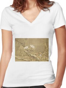 Shen Nanpin - Album Of Birds And Animals (Cranes). Forest view: forest , trees,  fauna, nature, birds, animals, flora, flowers, plants, field, weekend Women's Fitted V-Neck T-Shirt