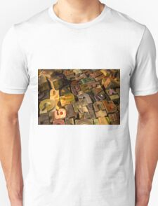 Antique wood letterpress printing blocks with color ink patina Unisex T-Shirt