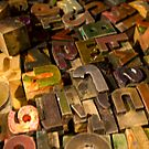 Antique wood letterpress printing blocks with color ink patina by Bruno Beach