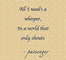 Passenger - Whispers lyrics by musaique