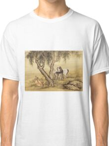 Shen Nanpin - Album Of Birds And Animals (Horses). Forest view: forest , trees,  fauna, nature, birds, animals, flora, flowers, plants, field, weekend Classic T-Shirt