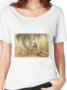 Shen Nanpin - Album Of Birds And Animals (Horses). Forest view: forest , trees,  fauna, nature, birds, animals, flora, flowers, plants, field, weekend Women's Relaxed Fit T-Shirt