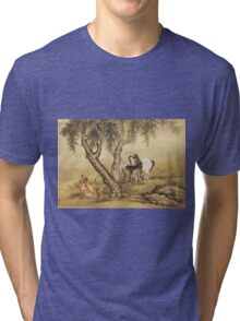 Shen Nanpin - Album Of Birds And Animals (Horses). Forest view: forest , trees,  fauna, nature, birds, animals, flora, flowers, plants, field, weekend Tri-blend T-Shirt