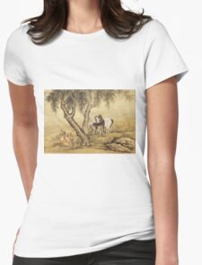 Shen Nanpin - Album Of Birds And Animals (Horses). Forest view: forest , trees,  fauna, nature, birds, animals, flora, flowers, plants, field, weekend Womens Fitted T-Shirt