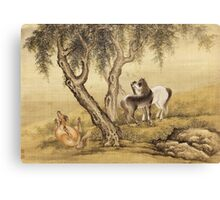 Shen Nanpin - Album Of Birds And Animals (Horses). Forest view: forest , trees,  fauna, nature, birds, animals, flora, flowers, plants, field, weekend Canvas Print