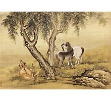 Shen Nanpin - Album Of Birds And Animals (Horses). Forest view: forest , trees,  fauna, nature, birds, animals, flora, flowers, plants, field, weekend Photographic Print