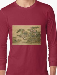 Shen Nanpin - Album Of Birds And Animals (Mandarin Ducks And Lotus Flowers). Forest view: forest , trees,  fauna, nature, birds, animals, flora, flowers, plants, field, weekend Long Sleeve T-Shirt