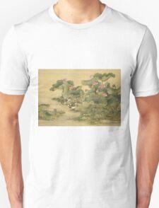 Shen Nanpin - Album Of Birds And Animals (Mandarin Ducks And Lotus Flowers). Forest view: forest , trees,  fauna, nature, birds, animals, flora, flowers, plants, field, weekend Unisex T-Shirt