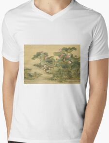 Shen Nanpin - Album Of Birds And Animals (Mandarin Ducks And Lotus Flowers). Forest view: forest , trees,  fauna, nature, birds, animals, flora, flowers, plants, field, weekend Mens V-Neck T-Shirt