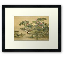 Shen Nanpin - Album Of Birds And Animals (Mandarin Ducks And Lotus Flowers). Forest view: forest , trees,  fauna, nature, birds, animals, flora, flowers, plants, field, weekend Framed Print