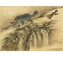 Shen Nanpin - Album Of Birds And Animals (Qilin). Forest view: forest , trees,  fauna, nature, birds, animals, flora, flowers, plants, field, weekend Photographic Print