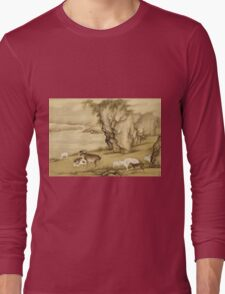 Shen Nanpin - Album Of Birds And Animals (Sheep And Goats). Forest view: forest , trees,  fauna, nature, birds, animals, flora, flowers, plants, field, weekend Long Sleeve T-Shirt