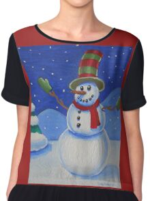 Snowman on Canvas  Chiffon Top