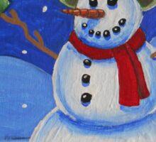 Snowman on Canvas  Sticker