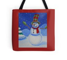 Snowman on Canvas  Tote Bag