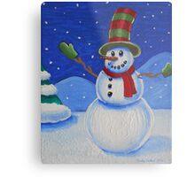 Snowman on Canvas  Metal Print