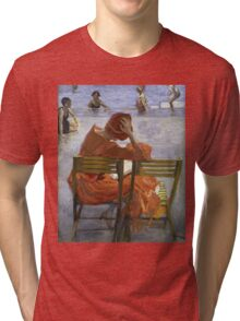 Sir John Lavery - Girl In A Red Dress, Seated By A Swimming Pool. Woman portrait: woman, Girl , reading,  women, hat, beautiful ,  Red Dress,  Swimming , Pool, expectation, dream Tri-blend T-Shirt
