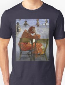 Sir John Lavery - Girl In A Red Dress, Seated By A Swimming Pool. Woman portrait: woman, Girl , reading,  women, hat, beautiful ,  Red Dress,  Swimming , Pool, expectation, dream Unisex T-Shirt