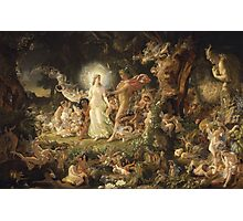 Sir Joseph Noel Paton - The Quarrel Of Oberon And Titania 1849. Fairy painting: fairy, fairies, nymph, nymphs, child, baby , dwarves, dwarf , elf , elves, goblin  Photographic Print