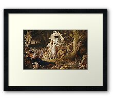 Sir Joseph Noel Paton - The Reconciliation Of Oberon And Titania. Fairy painting: fairy, fairies, nymph, nymphs, child, baby , dwarves, dwarf , elf , elves, goblin  Framed Print