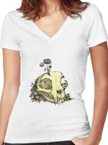 Little Skull Colour Women's Fitted V-Neck T-Shirt