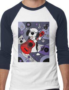 Cool Artistic Old English Sheepdog Playing Guitar Abstract Men's Baseball ¾ T-Shirt