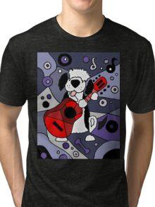 Cool Artistic Old English Sheepdog Playing Guitar Abstract Tri-blend T-Shirt