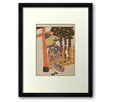 Suzuki Harunobu - Woman Visiting The Shrine In The Night. Woman portrait:  geisha ,  women,  courtesan,  fashion,  costume,  kimono,  hairstyle,  headdress,  parasol,  mirror,  maid Framed Print