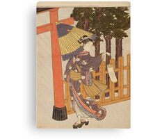 Suzuki Harunobu - Woman Visiting The Shrine In The Night. Woman portrait:  geisha ,  women,  courtesan,  fashion,  costume,  kimono,  hairstyle,  headdress,  parasol,  mirror,  maid Canvas Print