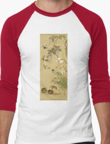Suzuki Kiitsu - Birds And Flowers. Forest view: forest , trees,  fauna, nature, birds, animals, flora, flowers, plants, field, weekend Men's Baseball ¾ T-Shirt