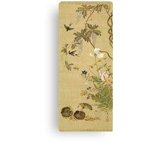 Suzuki Kiitsu - Birds And Flowers. Forest view: forest , trees,  fauna, nature, birds, animals, flora, flowers, plants, field, weekend Canvas Print