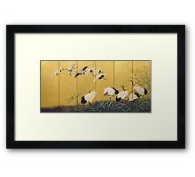 Suzuki Kiitsu - Reeds And Cranes. Forest view: forest , trees,  fauna, nature, birds, animals, flora, flowers, plants, field, weekend Framed Print