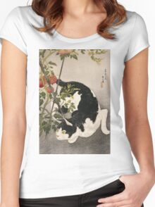Takahashi Hiroaki - Cat Prowling Around A Staked Tomato Plant. Cat portrait: cute cat, kitten, kitty, cats, pets, wild life, animal, smile, little, kids, baby Women's Fitted Scoop T-Shirt