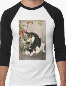 Takahashi Hiroaki - Cat Prowling Around A Staked Tomato Plant. Cat portrait: cute cat, kitten, kitty, cats, pets, wild life, animal, smile, little, kids, baby Men's Baseball ¾ T-Shirt