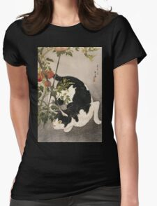 Takahashi Hiroaki - Cat Prowling Around A Staked Tomato Plant. Cat portrait: cute cat, kitten, kitty, cats, pets, wild life, animal, smile, little, kids, baby Womens Fitted T-Shirt