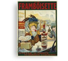 Tamagno - Framboisette Poster. Cafe view: drinking and eating party, woman and man, people, family, female and male, peasants, cafe, romance, women and men, restaurant, food Canvas Print