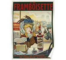 Tamagno - Framboisette Poster. Cafe view: drinking and eating party, woman and man, people, family, female and male, peasants, cafe, romance, women and men, restaurant, food Poster