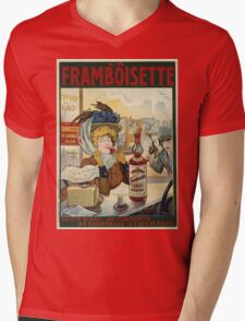 Tamagno - Framboisette Poster. Cafe view: drinking and eating party, woman and man, people, family, female and male, peasants, cafe, romance, women and men, restaurant, food Mens V-Neck T-Shirt