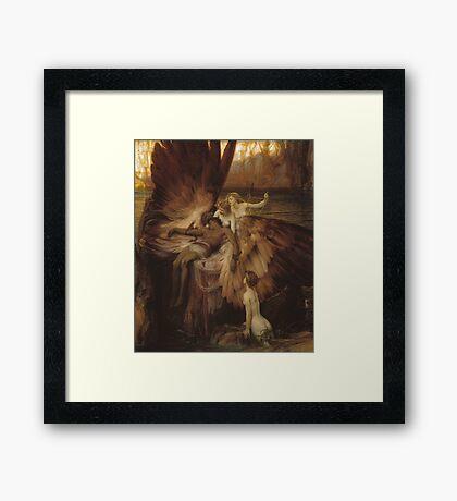 Herbert Draper - The Lament For Icarus 1898. Fairy painting: icarus, mermaids, nude, nudity , temptation , dawn, star, angels, angelic , torso, love  Framed Print