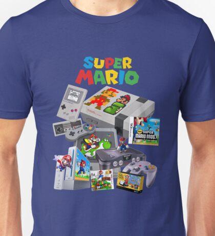 Super Mario Evolution, includes most consoles and mario figures Unisex T-Shirt