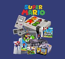 Super Mario Evolution, includes most consoles and mario figures Unisex T-Shirt