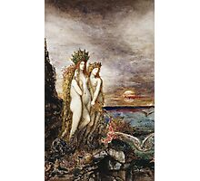 Gustave Moreau - The Sirens Gustave Moreau. Fairy painting: mermaids, nude, nudity , temptation , dawn, star, angels, angelic , breast, love , erotic pose Photographic Print