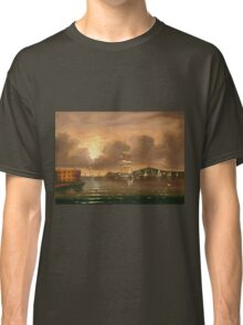 Thomas Chambers - Threatening Sky, Bay Of New York. Sea landscape: sea view,  yachts,  holiday, sailing boat, coast seaside, waves and beach, marin, seascape, sun clouds, nautical, ocean Classic T-Shirt