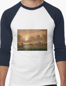 Thomas Chambers - Threatening Sky, Bay Of New York. Sea landscape: sea view,  yachts,  holiday, sailing boat, coast seaside, waves and beach, marin, seascape, sun clouds, nautical, ocean Men's Baseball ¾ T-Shirt