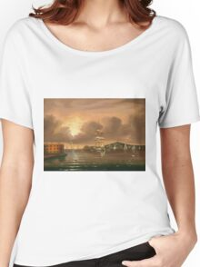 Thomas Chambers - Threatening Sky, Bay Of New York. Sea landscape: sea view,  yachts,  holiday, sailing boat, coast seaside, waves and beach, marin, seascape, sun clouds, nautical, ocean Women's Relaxed Fit T-Shirt