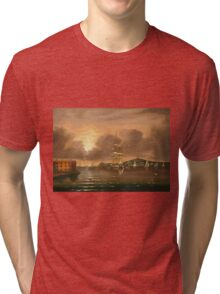 Thomas Chambers - Threatening Sky, Bay Of New York. Sea landscape: sea view,  yachts,  holiday, sailing boat, coast seaside, waves and beach, marin, seascape, sun clouds, nautical, ocean Tri-blend T-Shirt