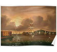 Thomas Chambers - Threatening Sky, Bay Of New York. Sea landscape: sea view,  yachts,  holiday, sailing boat, coast seaside, waves and beach, marin, seascape, sun clouds, nautical, ocean Poster